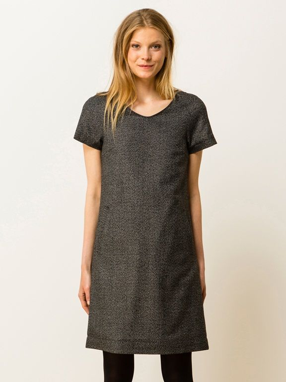 Robe tweed encolure V longueur genou, GAUJACQ - ANTHRACITE - 6
