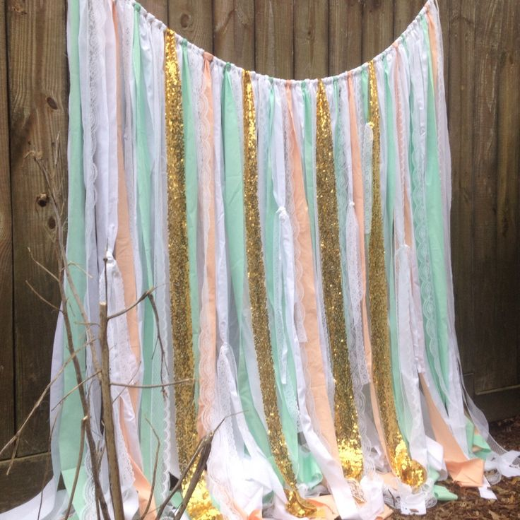 Taupe sequin shower curtain - Mint Peach Backdrop Gold Sequin Ribbon Backdrop Rag Garland Ribbon