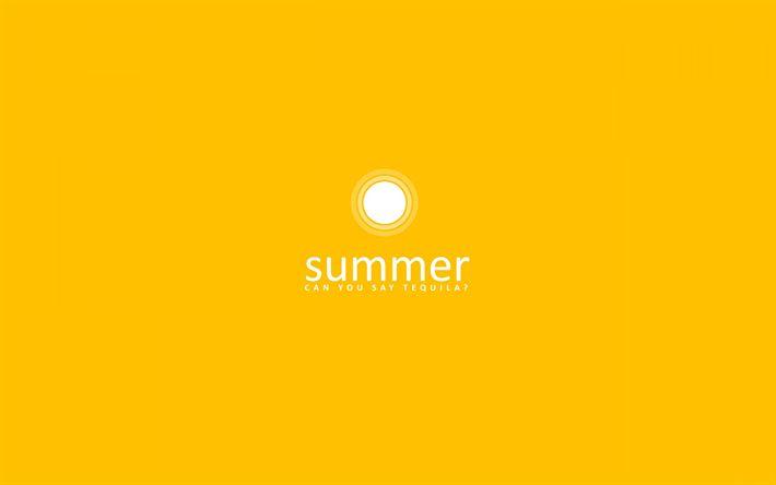 Herunterladen hintergrundbild gelber hintergrund, kreativ, im sommer, minimal