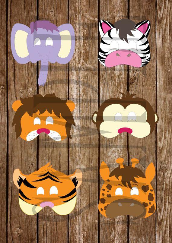 JUNGLE/Safari - Animal - Masks - Giraffe - Lion - Zebra ...