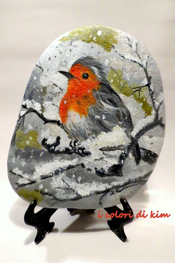Bird painted on stone!