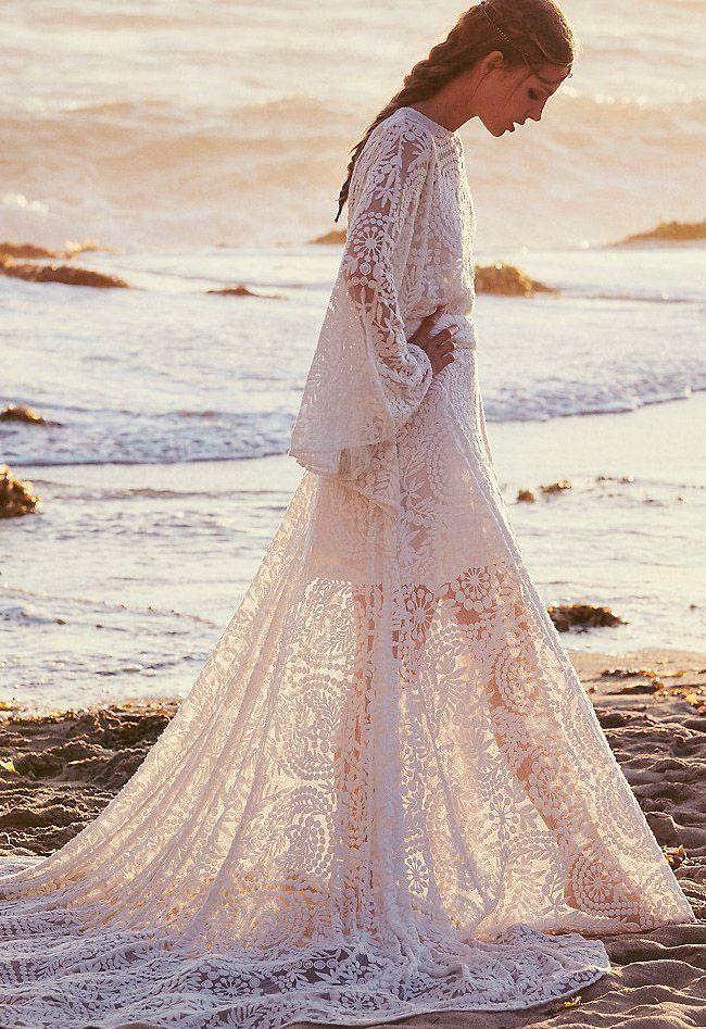 boho beach wedding dress: