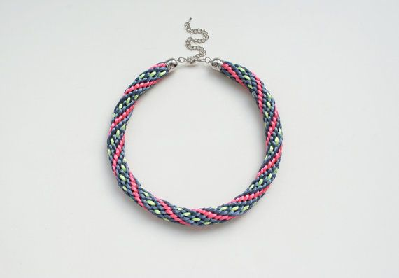 Multicolor kumihimo necklace dark grey coral pink by elfinadesign, $32.00