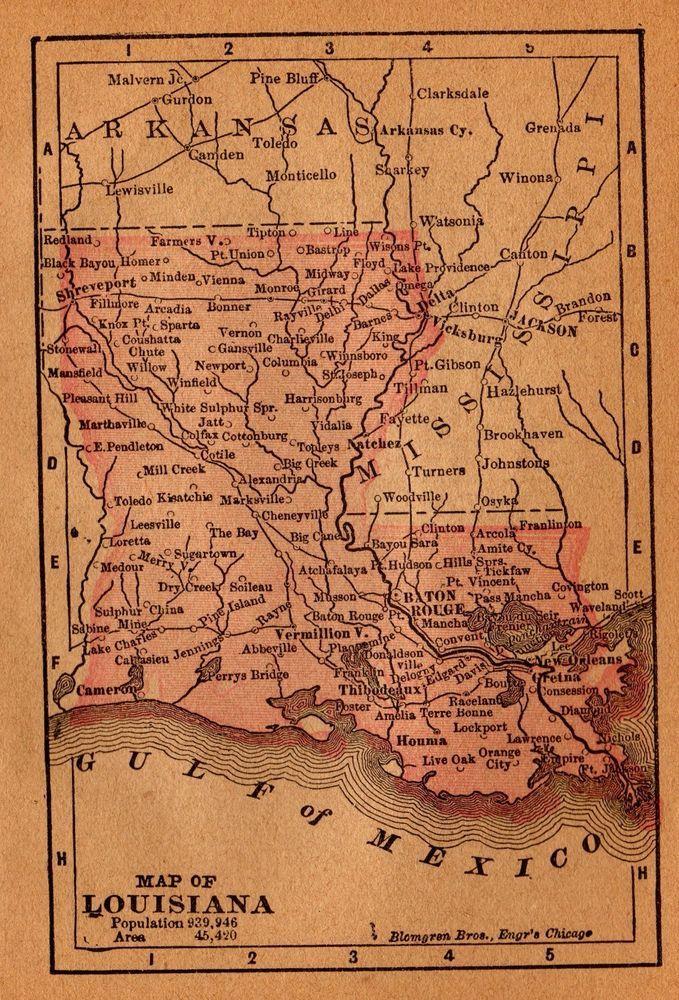 RARE 1899 Antique LOUISIANA Map RARE MINIATURE Map of Louisiana 3261