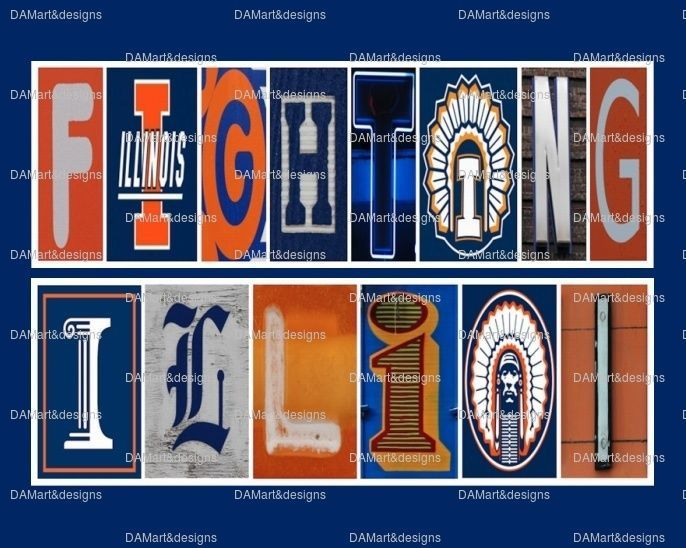 University of Illinois Fighting Illini Framed Alphabet Photo Art
