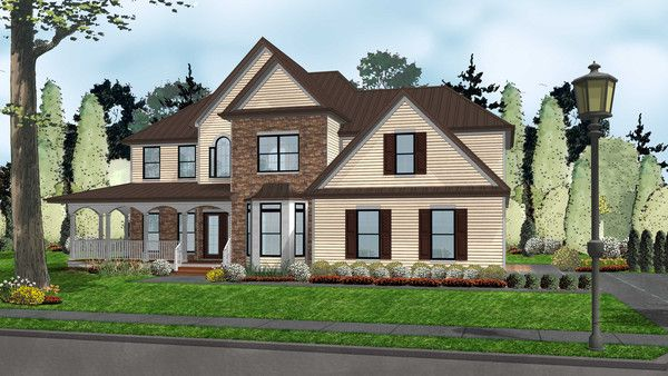 Johnson Farm is a charming traditional 2-story home plan with a classic look and functional floor plan. There's a lot to love about this plan - take a closer look! With a blend of traditional siding, thinset stone, and metal roofing, Johnson Farm has a curb-side appeal that is sure to make the neighbors (and home-buyers) curious! The side-load garage allows for a front elevation that looks as good as it functions.