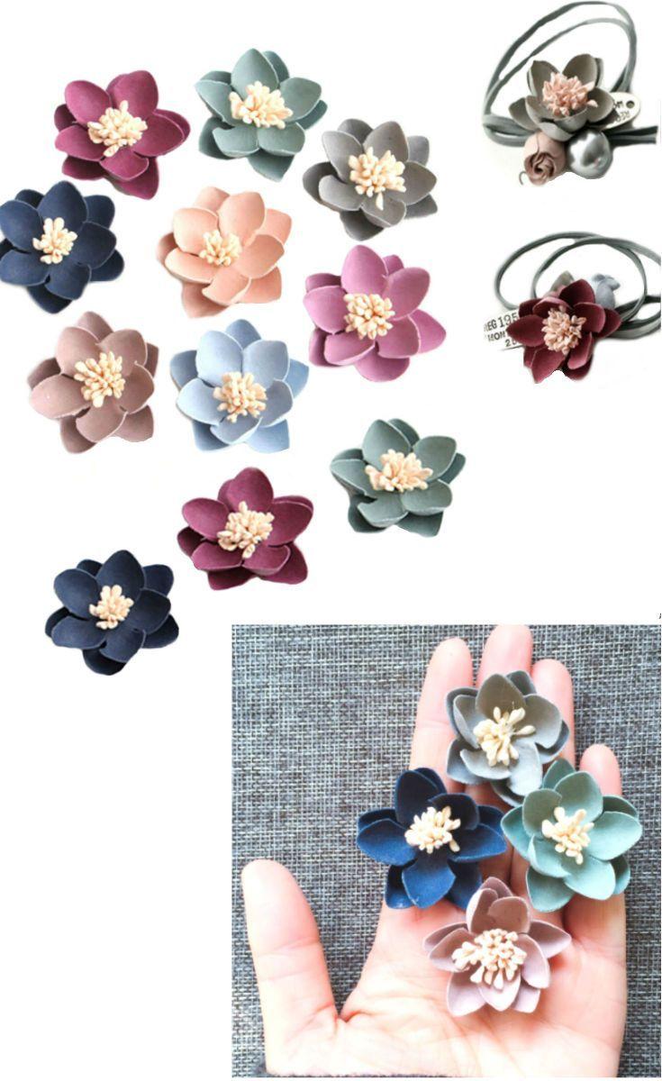 Flowers DIY Blush Pink Blue Lily Fabric Handmade Flower Art Hair Accessories Making Brooch Wedding Corsage Boho Bouquet , 2pcs/5pcs