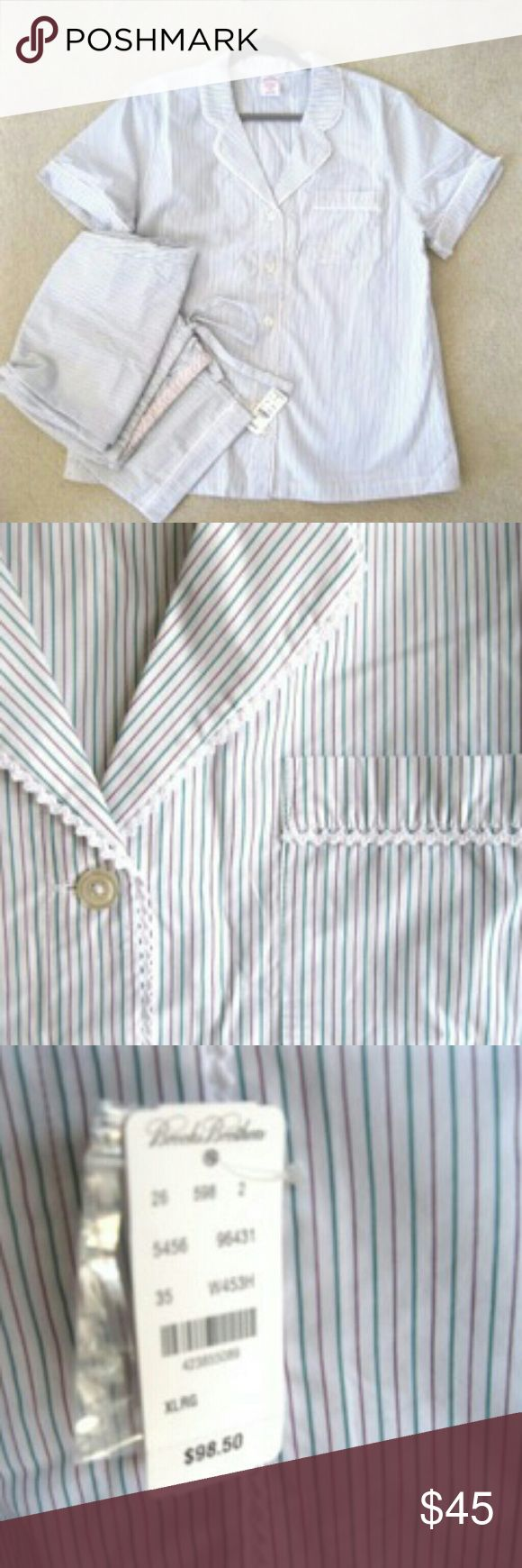 NWT women's Brooks Brothers Cotton Stripe pj set. NWT women's Brooks Brothers Cotton Stripe pajama set. Short sleeved top and pajama style pants in comfortable soft cotton. Size XL measures 46? across bust. was $98.50 tags attached. Brooks Brothers Intimates & Sleepwear Pajamas