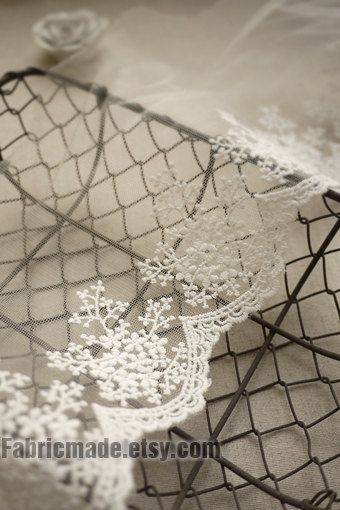 Two Yards- Ivory White Embroidery Lace Trim Tulle Lace Trim for Jewlery Supplies, Bridal Supplies width 11cm 4 inches Lace by yard. $6.00, via Etsy.