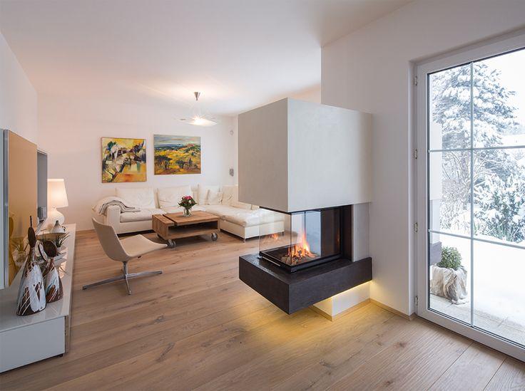 Fireplace with smooth spatula surface | Ofenbau Kummer GmbH  – Wohnzimmer