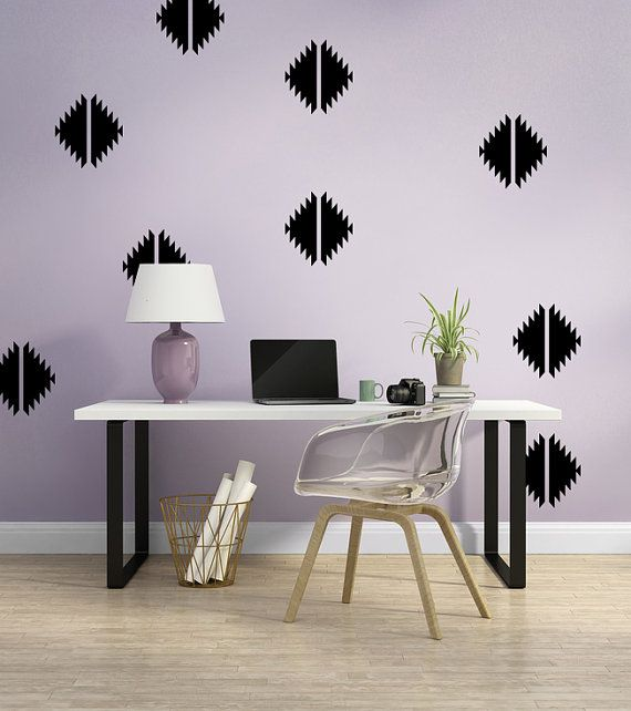 Southwestern Decor, Geometric Wall Decal, Apartment Wall Decor, Southwestern Wall Art, Diamond Wall Decal, Modern Wall Art, Desert Decor  THIS SET INCLUDES (1) PANEL THAT MEASURES 27 X 84 and contains 28 individual shapes for you to arrange as you wish. Each individual shape measures 9.  NOTE: Wall decal shown in Black.  Interested in this design in a prearranged placement? See our listing here: https://www.etsy.com/listing/249615508  Wall Star Graphics are available in a ...