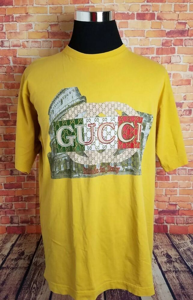 6bde0eb59 Vintage 90s Gucci Bootleg Mens XXL Graphic T-Shirt Yellow Spell Out #fashion  #clothing #shoes #accessories #mensclothing #shirts (ebay link)