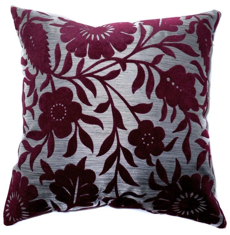 "ET93 - Specialist Velvet Style Sofa Pillow Cases /Cushion Covers (Burgundy Flower L Gray)18""x18"" / 45cm X 45cm"