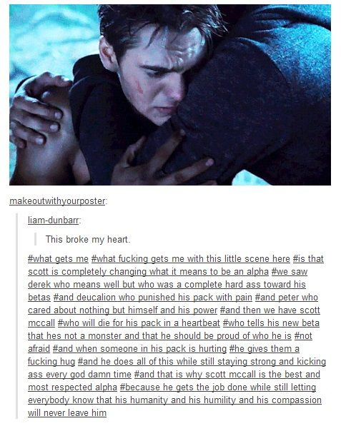 Scott McCall character analysis from Teen Wolf. Taken from tumblr.