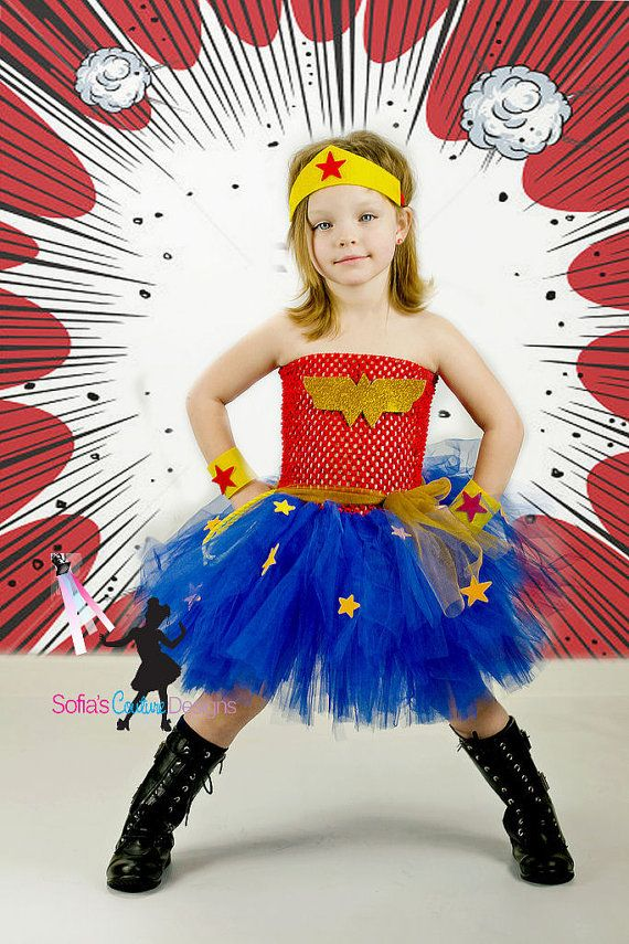 Wonder Woman tutu dress and costume by SofiasCoutureDesigns