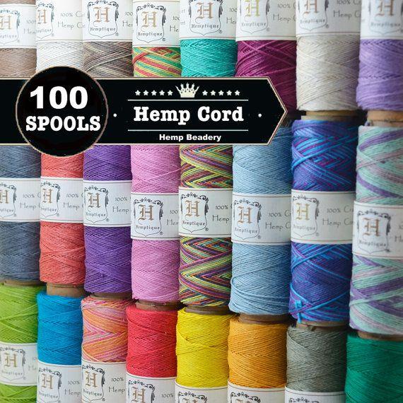 Hemp Twine, 10lb, 100 Spools, Micro Macrame Cord,   Hemp Cord, Choose The Colors