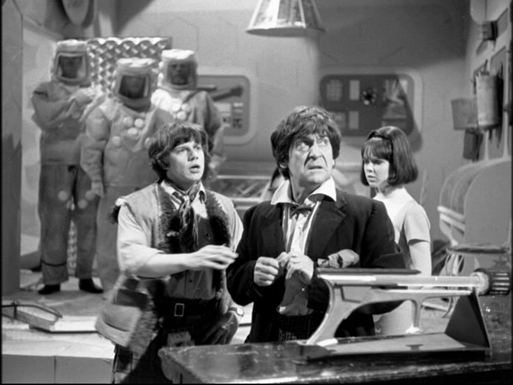 A still from The Dominators (1968).  With Frazer Hines and Wendy Padbury.