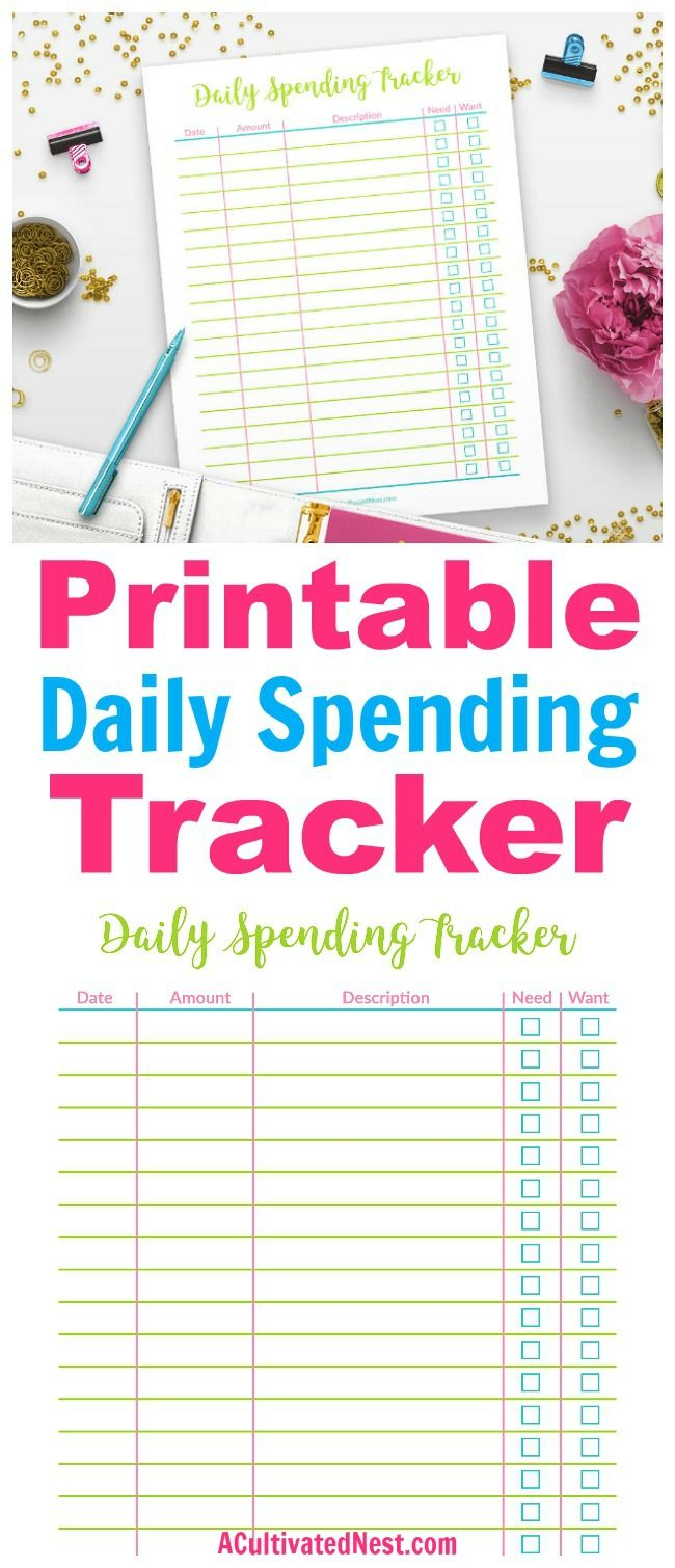 printable daily spending tracker printables budgeting spending