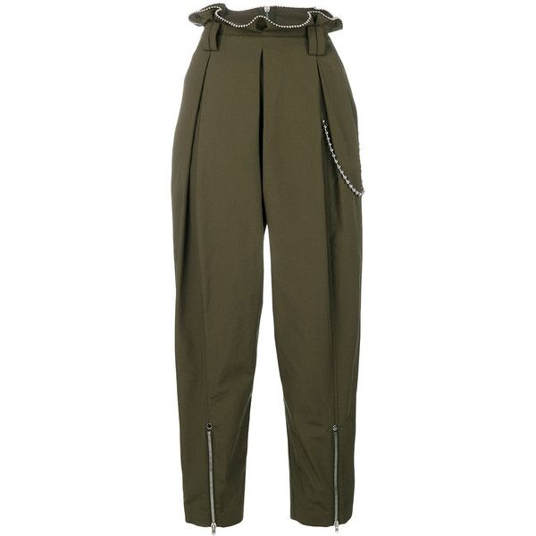 Alexander Wang Articulated Army Pant (£405) ❤ liked on Polyvore featuring pants, capris, green, high rise pants, high waisted army pants, high waisted cropped pants, high-waisted pants and cropped pants