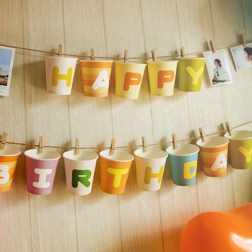 ABC Paper Cups: Happy Birthday, Birthday Banners, Birthday Parties, Birthday Cups, Advent Calendar, Parties Ideas, Paper Cups, Birthday Decor, Birthday Ideas