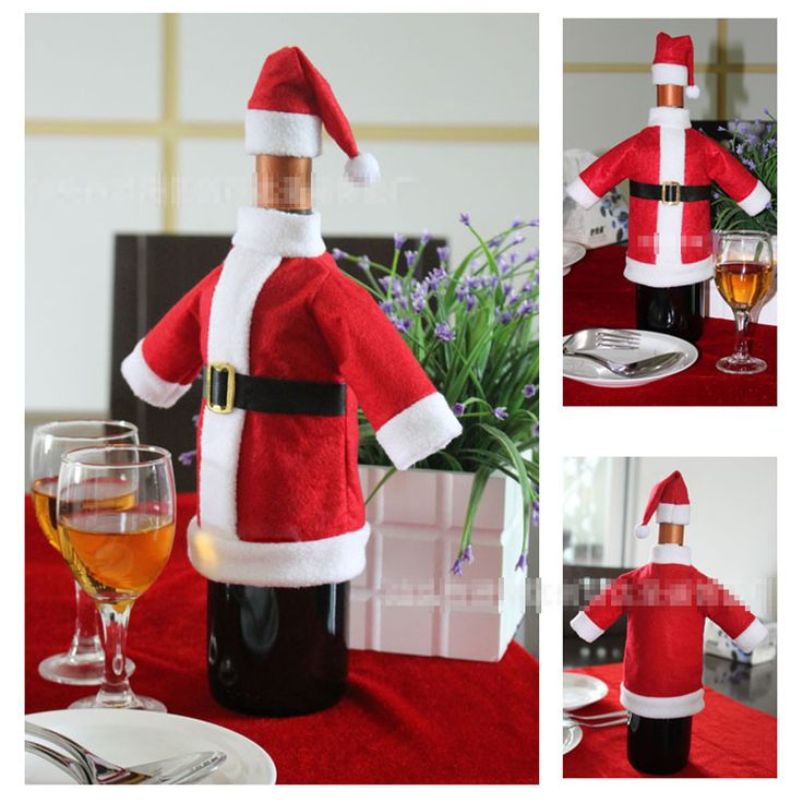 2pcs/1set handmade Non-woven fabrics Cute Christmas Red wine Bottle bags cover sleeve clothes with hat dinner Table Decoration