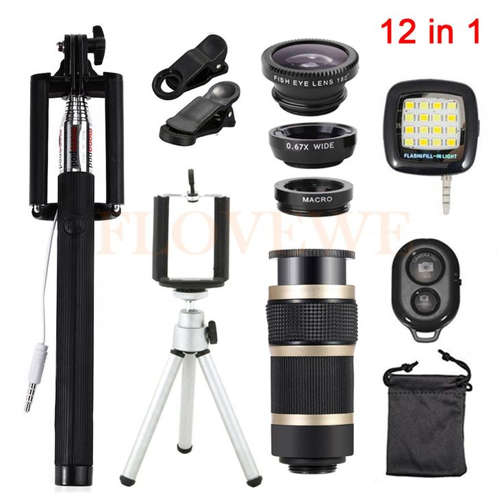 ==> [Free Shipping] Buy Best Mobile phone lentes 12in1 Kit Fish eye Wide Angle Macro Lenses 8x Zoom Telephoto Lens With Tripod Clips Selfie Flash Fill Light Online with LOWEST Price | 32787477497