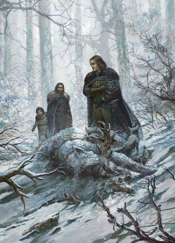Starks and the direwolves - Game of Thrones