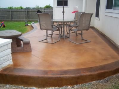 staining concrete patio to look like stone stain stained patios before and after ideas