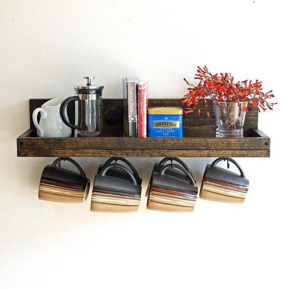 Coffee Mug Shelf With Hooks Hanging Mug Rack Coffee Cup Mug Rack Coffee Mug Holder Coffee Bar Shelf Organizer With Images Coffee Mug Holder Coffee Cup Holder Mug Rack