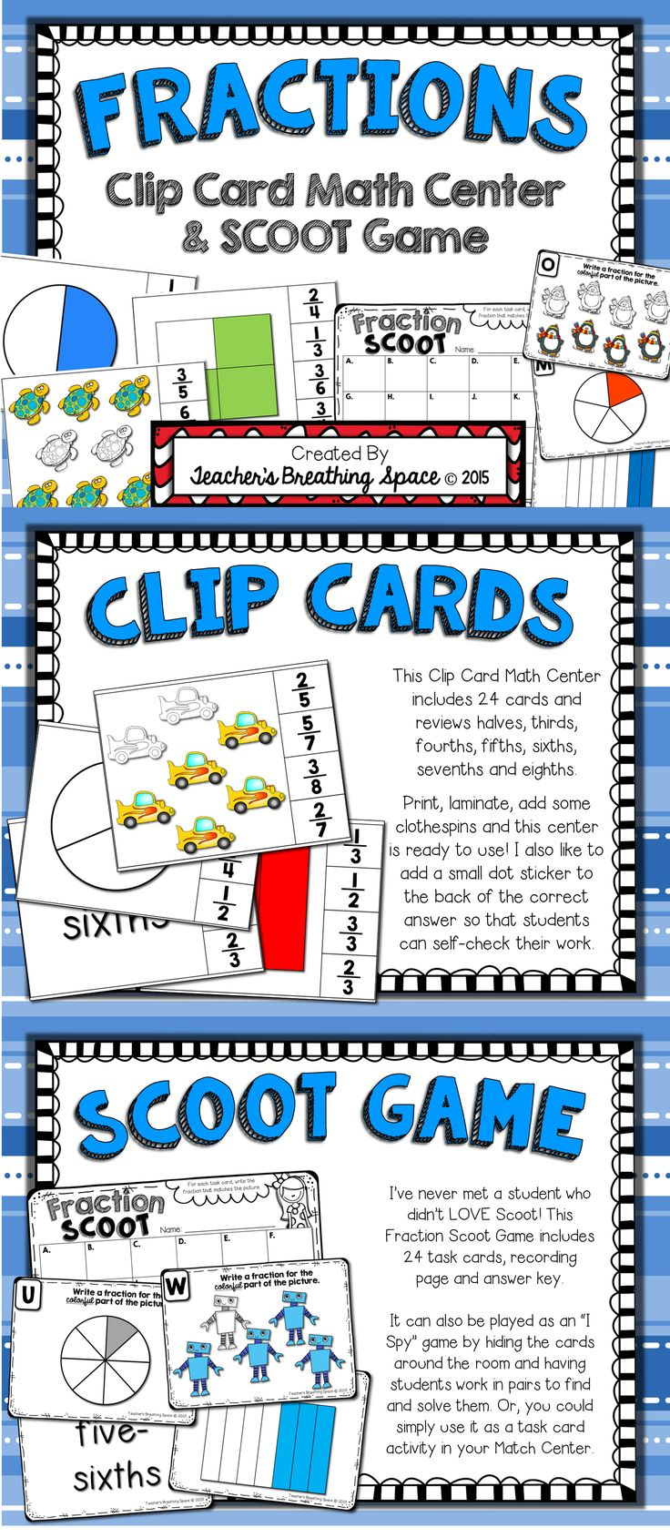 fractions fractions clip cards math center fractions scoot math activities and awesome. Black Bedroom Furniture Sets. Home Design Ideas