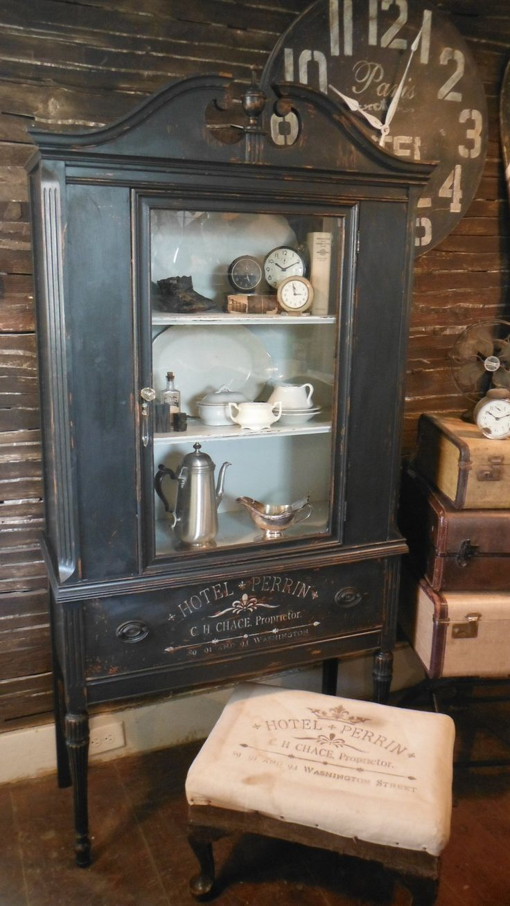 Antique China Cabinet makeover by Zoey's - painted black distressed and Hotel Perrin graphics