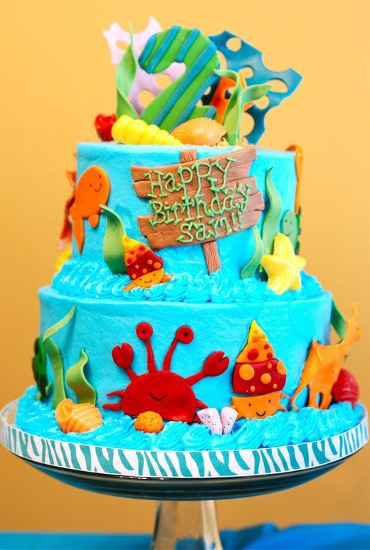 ocean themed cakeTheme Parties, Ocean Parties, Parties Cake, Beach Cake, Sea Parties, Parties Ideas, Under The Sea Birthday Cake, Theme Cake, 1St Birthday Cake