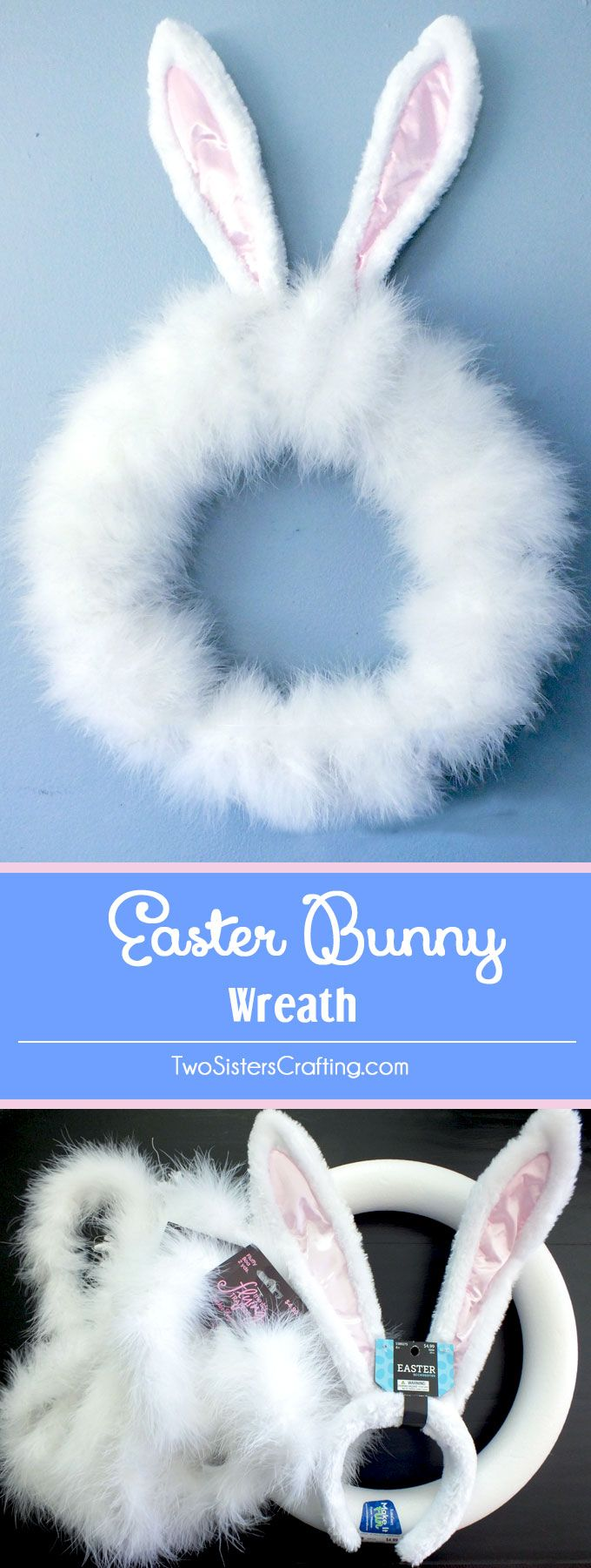 This Easter Bunny Wreath craft project is super easy and makes an adorable Easter wreath that bo ...