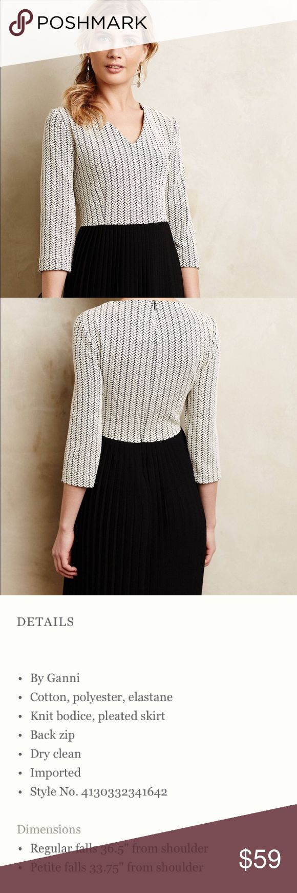 {Anthropologie} Ganni Crossknit Dress Sophisticated knit dress with sleeves and float pleated skirt. Flattering and simple silhouette. Falls to knee. Easy to dress up or down. (Reasonable offers welcome!) Anthropologie Dresses