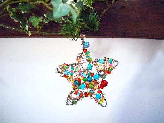 Decorazione per l'albero  Bohemian, decorazioni colorate, idea regalo Natale, colorful Christmas decoration, boho decoration