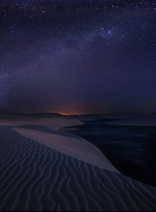lencois maranhenses, sand dunes, night photography, milky ...