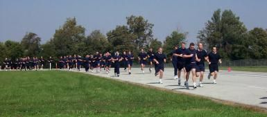 What to Expect on Your First Day at the Police Academy: Recruits from the Indiana Law Enforcement  Academy participate in physical training