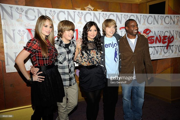 Actors Debby Ryan, Dylan Sprouse, Brenda Song, Cole Sprouse, and Phill Lewis visit The World of Disney store on March 6, 2009 in New York City.