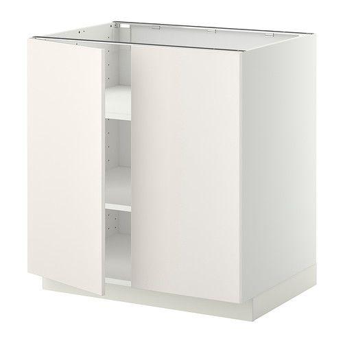 IKEA - METOD, Unterschrank m Böden/2Türen, Veddinge weiß, weiß, 80x60 cm, , Mit versetzbaren Böden; der Abstand dazwischen kann dem Bedarf angepasst werden.Das Grundelement ist stabil konstruiert: 18 mm stark.Dank der Schnappscharniere lassen sich die Türen einfach ohne Schrauben montieren und zum Reinigen leicht abnehmen.
