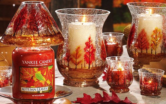 Yankee Candle Fragrances and Accessories for Autumn 2012 - Autumn Leaves scented candle and Golden Leaves accessories.