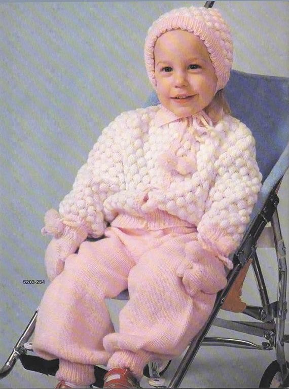 Knitting Pattern  Vintage Toddler Cardigan Bonnet by MyMayaMade, $5.99
