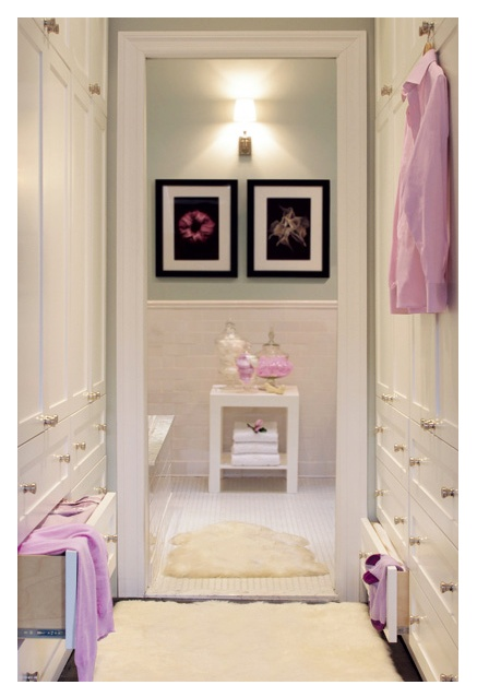 In Her Dressing Room: floor to ceiling storage and a private entrance to her bath.  Interior Designer: Graham Moss.