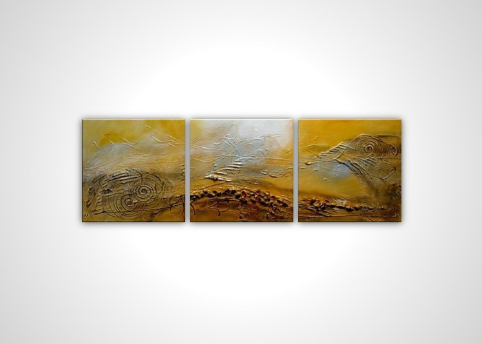 Abstract textured painting - Yellow white brown modern art - contemporary stretched canvas - ready to hang wall art - 48 in multi panel. $150.00