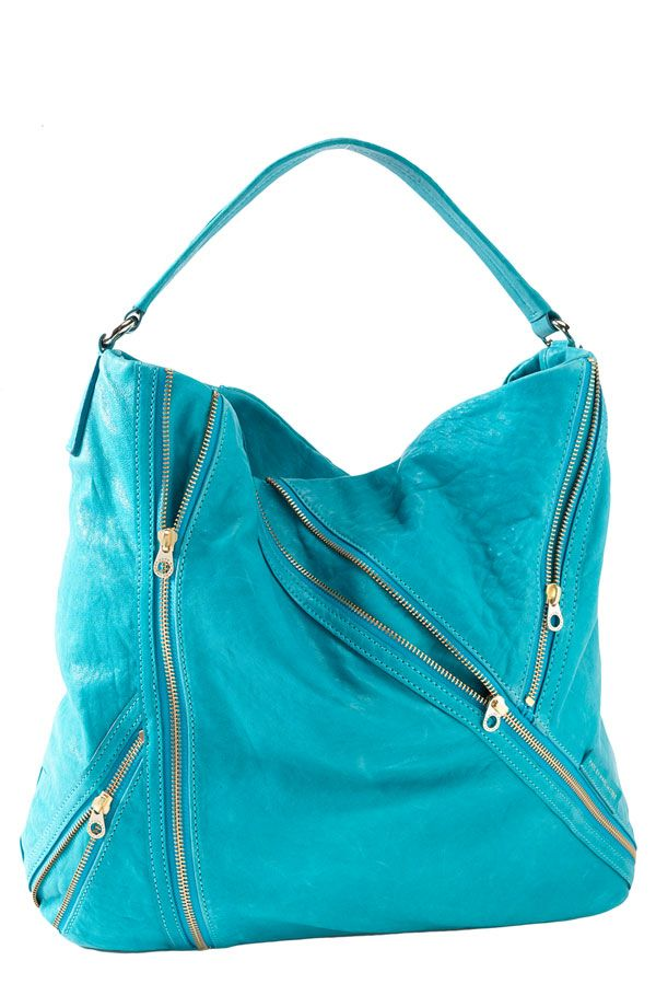 "Such a fun color and the zippers giv it an edgy feel. Marc by Marc Jacobs ""Flash Leola"" hobo bag."