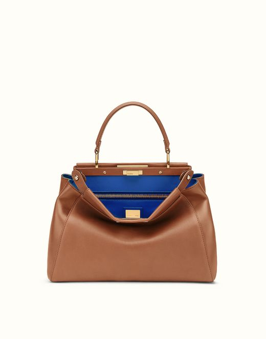 FENDI | REGULAR PEEKABOO handbag in brown leather
