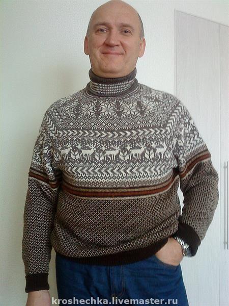 Купить шерстяной мужской свитер норвежский