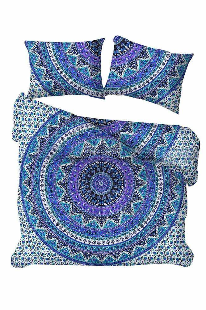 Mandala Quilt Cover Indian Hippie Queen Size Duvet Doona Cover Boho Bedding Set Handmade Traditional Loskutnoe Pokryvalo Pododeyalnik Puhovoe Odeyalo