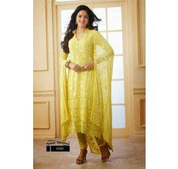 Buy Dinnar Georgette Yellow Semi Stitched Salwar Suit at Socrase.com