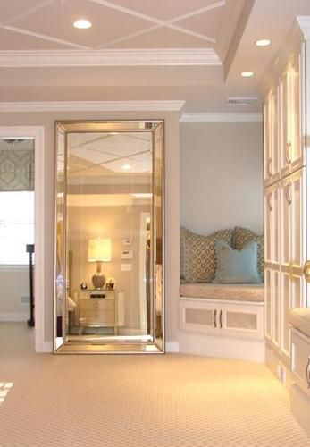 Venetian Frameless Floor Mirror To Disguise Door Home