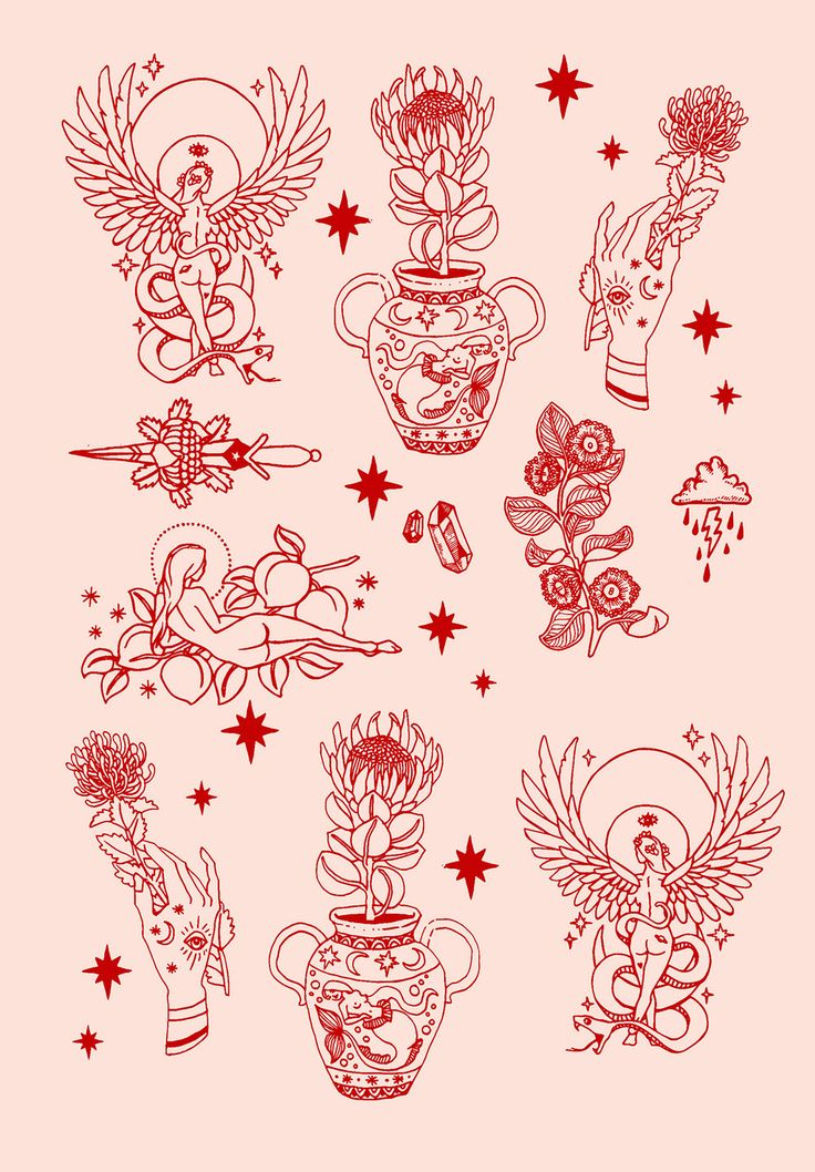 PONY GOLD / FLASH / TATTOO / RED / BLUSH / ILLUSTRATION / DRAWING / SYMBOLS